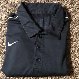 Nike XL Dri Fit Black polo polyester